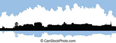 Bathurst, New Brunswick Skyline - Skyline silhouette of the...