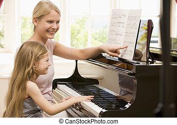 mujer, joven, niña, juego, piano, sonriente