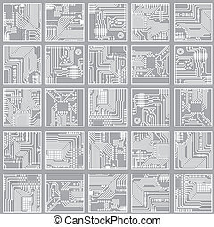Seamless electronic pattern. Computer circuit board...