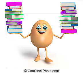 Happy Egg with books pile - 3d rendered illustration of...