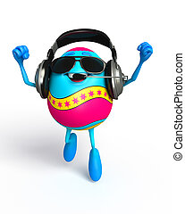Happy Easter Egg with headphone - 3d rendered illustration...
