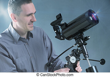 Man with telescope - Man with astronomical telescope