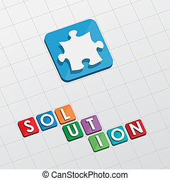 solution and puzzle piece, flat design