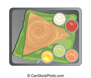 traditional dosa - an illustration of a metal tray with a...