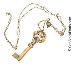 antique golden skeleton key