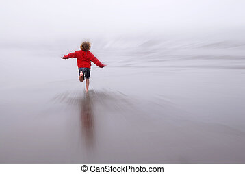 Young Girl Running Fast on Beach