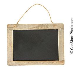 empty chalkboard - empty vintage black chalkboard hanging...