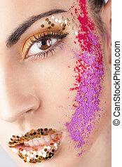 extraordinaire, modèle, Maquillage,  closeup