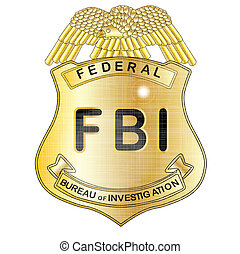 FBI Badge - A gold FBI badge isolatrd over a white...