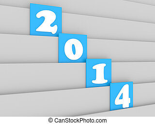 New Year 2014 date on white wood background - 3d new year...
