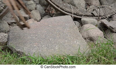 hand horse shoe stone - Closeup of hand lay stack of retro...