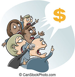Bidding Business Cartoon - A group of vector cartoon...