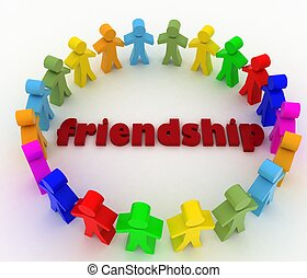 People stand in circle. Conception of friendship of the...