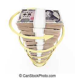 Japanese yen stack with rising arrow