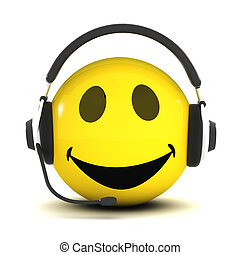 3d Smiley helpdesk - 3d render of a smiley wearing a...