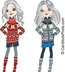 vector fashion hipster girls in knitted sweaters - fashion...