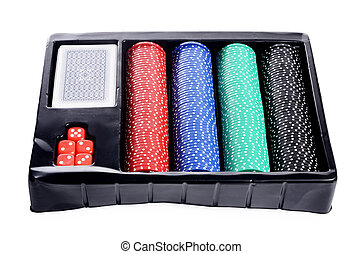 Set of chip and cards for game in a casino