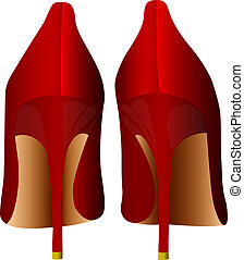 red female shoes - isolated red female shoes with high heels...