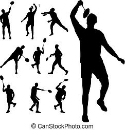 young man playing badminton silhouette vector illustration