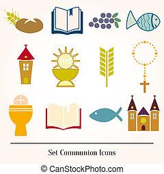 jogo, ícones, comunhão, católico,...