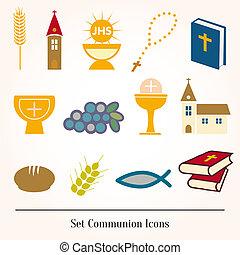 Set icons communion catholic christian