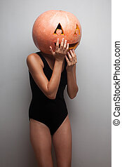 Funny pumpkin face Dancer in Halloween costume