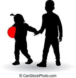 boy and girl holding hands vector illustration