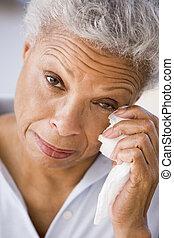 Woman Wiping Away Tears