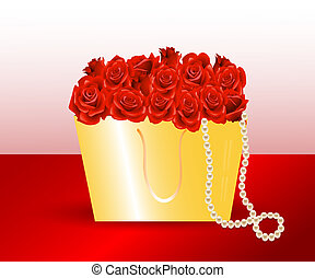 bag  gift and roses.