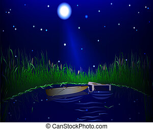 lake and boat night - blue lake with grass and boat on the...