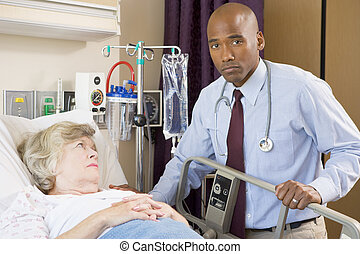 Doctor Checking Up On Patient,Looking Serious