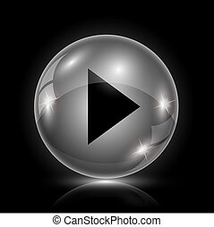 Play sign icon - Shiny glossy icon - glass ball on black...