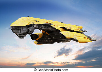 Futuristic ship flying. - Science fiction scene of a...