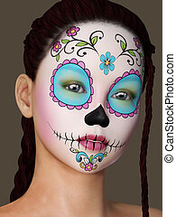 Woman with unique face painted. - Beautiful woman with...