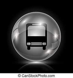 Bus icon - Shiny glossy icon - glass ball on black...