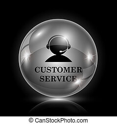 Customer service icon - Shiny glossy icon - glass ball on...