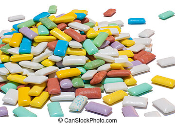 Colourful pile of chewing gum - Pile made out of many...