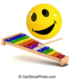 3d Smiley tunes - 3d render of a smiley playing a xylophone