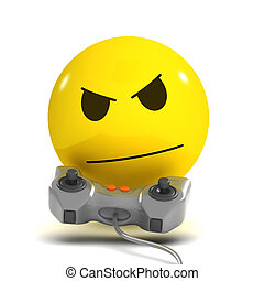 3d Smiley gamer - 3d render of a smiley playing video games
