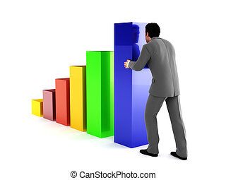 Business man pushing growth chart. - Business man pushing a...