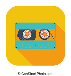 Audiocassette single icon. - Audiocassette single color flat...