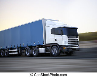 Truck on the road. Generic 3d model concept of a Cargo truck...