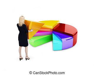 Business woman with pie graph. - Business woman placing a...