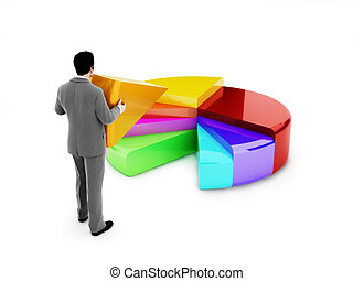 Man placing a section of pie chart. - Business man placing a...