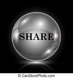 Share icon - Shiny glossy icon - glass ball on black...