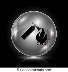 Fire icon - Shiny glossy icon - glass ball on black...