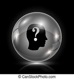 Quiz icon - Shiny glossy icon - glass ball on black...