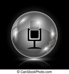 Microphone icon - Shiny glossy icon - glass ball on black...