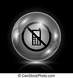 Mobile phone restricted icon - Shiny glossy icon - glass...