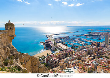 Alicante skyline aerial from Santa Barbara Castle Spain -...